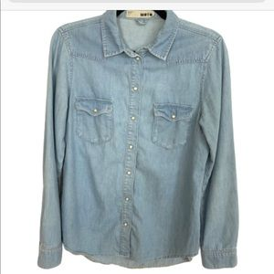 TOPSHOP Chambray Moro Button Down Shirt Size 6 195